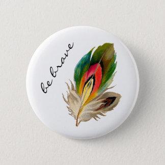 """La pluma del arco iris de Boho """"sea"""" botón"""