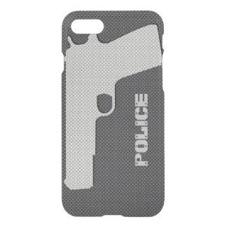La policía negra y gris de encargo de la fibra de funda para iPhone 7