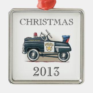 La policía Pedal coche del poli del coche Adorno Cuadrado Plateado