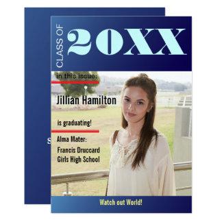 La portada de revista azul de la graduación del invitación 12,7 x 17,8 cm