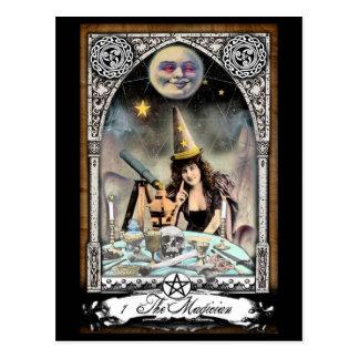 La postal de la carta de tarot del mago del