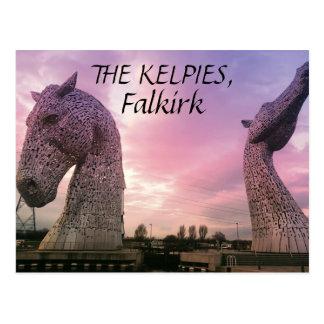 La postal de los Kelpies, altas esculturas de la