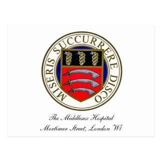 La postal del logotipo del hospital de Middlesex