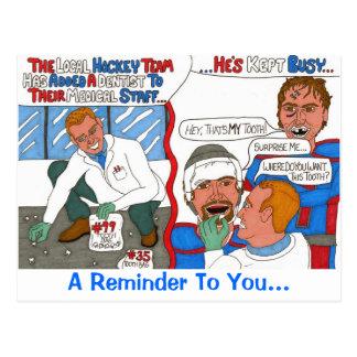 La postal del recordatorio del dentista del hockey