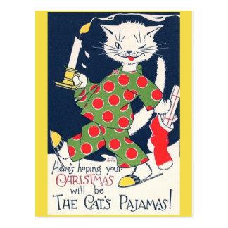 La postal divertida del pijama del gato del gato