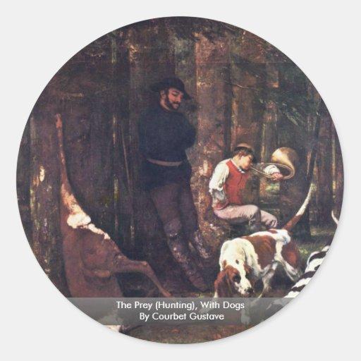 La presa (caza), con los perros de Courbet Gustavo Pegatina Redonda