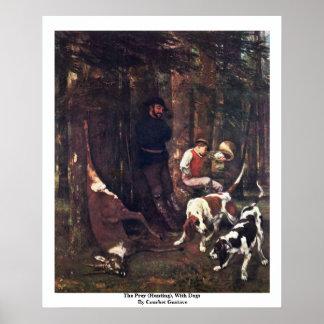 La presa (caza), con los perros de Courbet Gustavo Póster