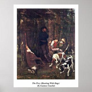 La presa (caza con los perros) por Gustave Courbet Poster