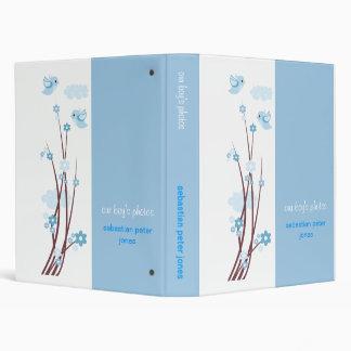 La primavera azul de los pájaros del amor florece carpeta 2,5 cm