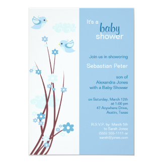La primavera azul de los pájaros del amor florece invitación 12,7 x 17,8 cm