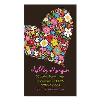 La primavera caprichosa florece amor del corazón plantilla de tarjeta de visita