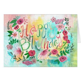 La primavera del feliz cumpleaños florece la tarjeta