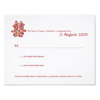 La primavera florece el boda chino de la felicidad invitación 10,8 x 13,9 cm