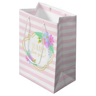 La primavera florece el bolso rosado del regalo de bolsa de regalo mediana