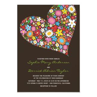 La primavera florece el corazón que el boda invitación 12,7 x 17,8 cm