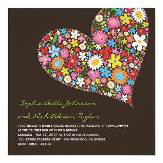 La primavera florece el corazón que el boda invitación 13,3 cm x 13,3cm