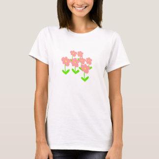 La primavera florece las flores rosadas y verdes camiseta