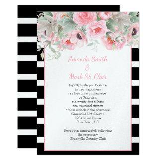 La primavera rosada de la acuarela florece invitación 12,7 x 17,8 cm