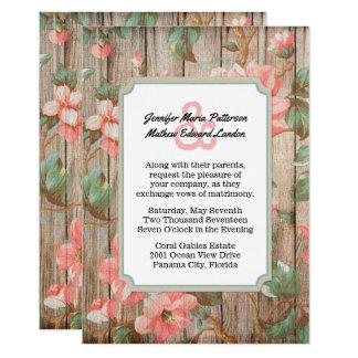 La primavera rústica florece invitación del boda