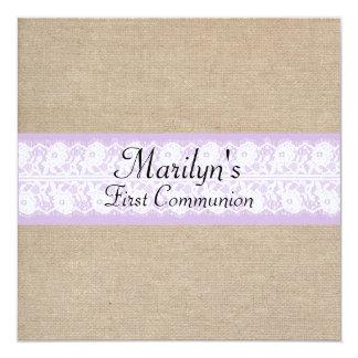 La primera comunión del cordón púrpura elegante de invitación 13,3 cm x 13,3cm