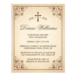 La primera comunión del marco adornado marrón eleg invitacion personal