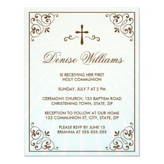 La primera comunión del marco adornado marrón invitación 10,8 x 13,9 cm