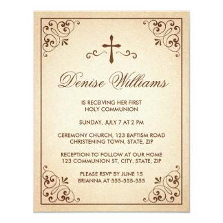 La primera comunión del marco adornado marrón invitacion personal