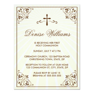 La primera comunión del marco adornado poner crema invitación 10,8 x 13,9 cm