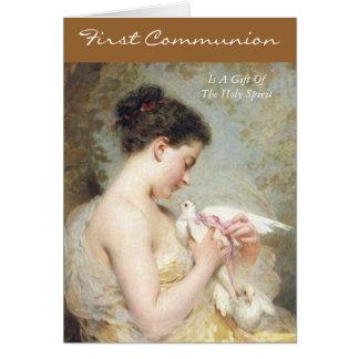 la primera comunión es un regalo del Espíritu Sant Tarjeta De Felicitación