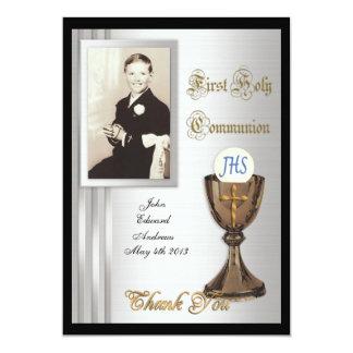 La primera comunión le agradece cardar la foto invitación 12,7 x 17,8 cm