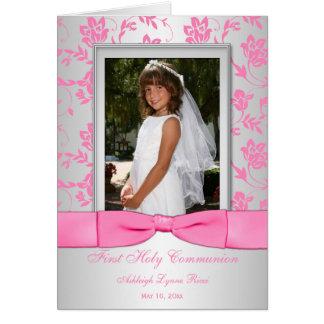 La primera foto de la comunión de la plata rosada  tarjeta pequeña