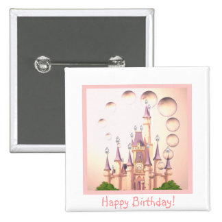 La princesa Castle Birthday Invitations de la niña Chapa Cuadrada 5 Cm