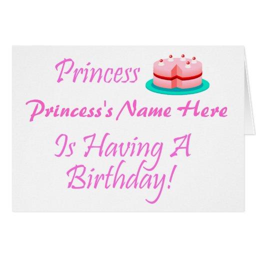 ¡La princesa (su nombre) está teniendo un cumpleañ Tarjeton