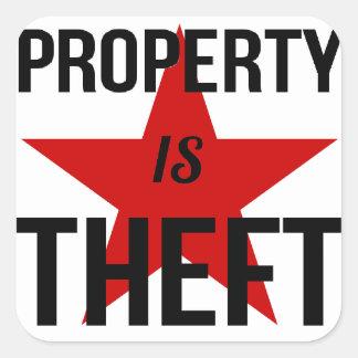 La propiedad es hurto - comunista socialista del pegatina cuadrada