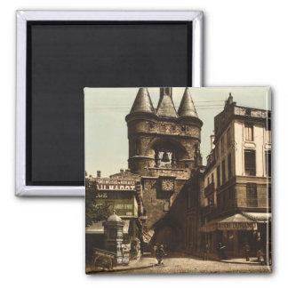 La puerta de reloj, Burdeos, Francia Imán Cuadrado