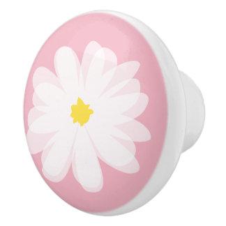 La puerta y el cajón florales rosados de la flor pomo de cerámica