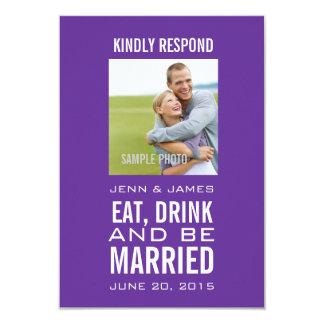 La púrpura come la bebida sea foto casada que casa invitación 8,9 x 12,7 cm