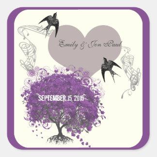 La púrpura confina bodas del árbol de la hoja del pegatina cuadrada