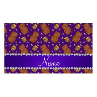 La púrpura conocida lleva el modelo de las abejas tarjetas de visita