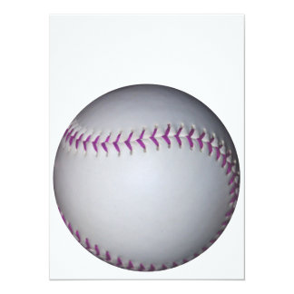 La púrpura cose béisbol/softball invitación 13,9 x 19,0 cm