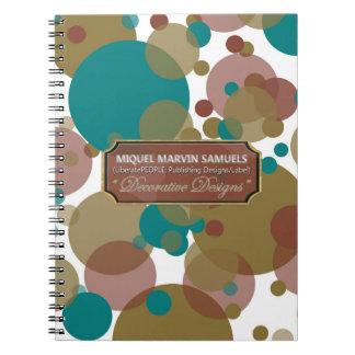 La púrpura de Brown azul burbujea cuaderno moderno