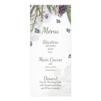 la púrpura florece el menú del boda de la acuarela plantilla de lona
