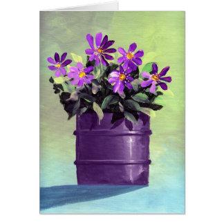 La púrpura florece el nuevo hogar del estreno de tarjeta de felicitación