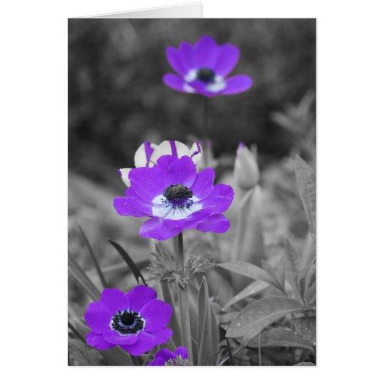 La púrpura florece la tarjeta de condolencia