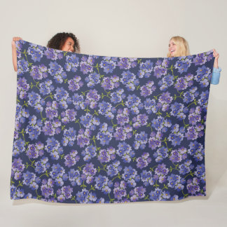 La púrpura florece manta floral del paño grueso y