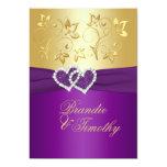 La púrpura IMPRESA de la CINTA, boda floral del Invitación 12,7 X 17,8 Cm