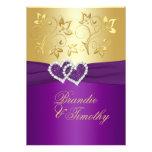 La púrpura IMPRESA de la CINTA, boda floral del or Invitacion Personalizada
