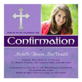 La púrpura, la foto de plata de la confirmación invitación 13,3 cm x 13,3cm