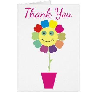 La púrpura le agradece girasol sonriente amarillo tarjeta de felicitación