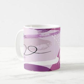 La púrpura mancha la taza de café abstracta